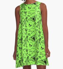 Cryptid Pattern Black on Green A-Line Dress