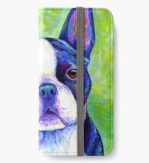 Colorful Boston Terrier Dog iPhone Wallet/Case/Skin