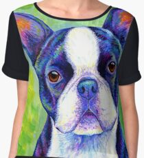 Colorful Boston Terrier Dog Chiffon Top