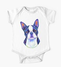 Colorful Boston Terrier Dog One Piece - Short Sleeve