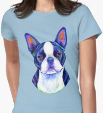 Colorful Boston Terrier Dog Women's Fitted T-Shirt