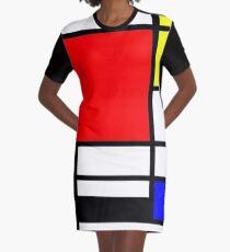 Mondrian minimalistisches Muster T-Shirt Kleid
