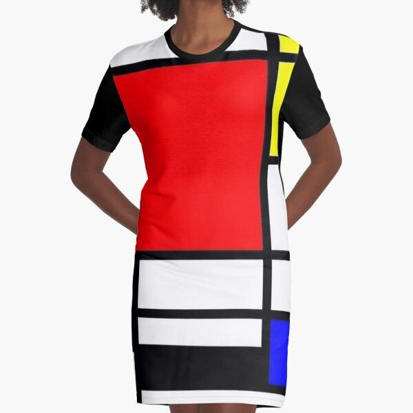 Mondrian Minimalist Pattern Graphic T-Shirt Dress