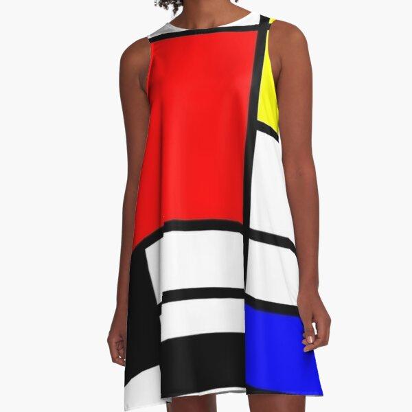 Mondrian Minimalist Pattern A-Line Dress