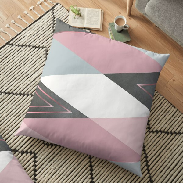 Abstract triangle - Pink and Gray Floor Pillow