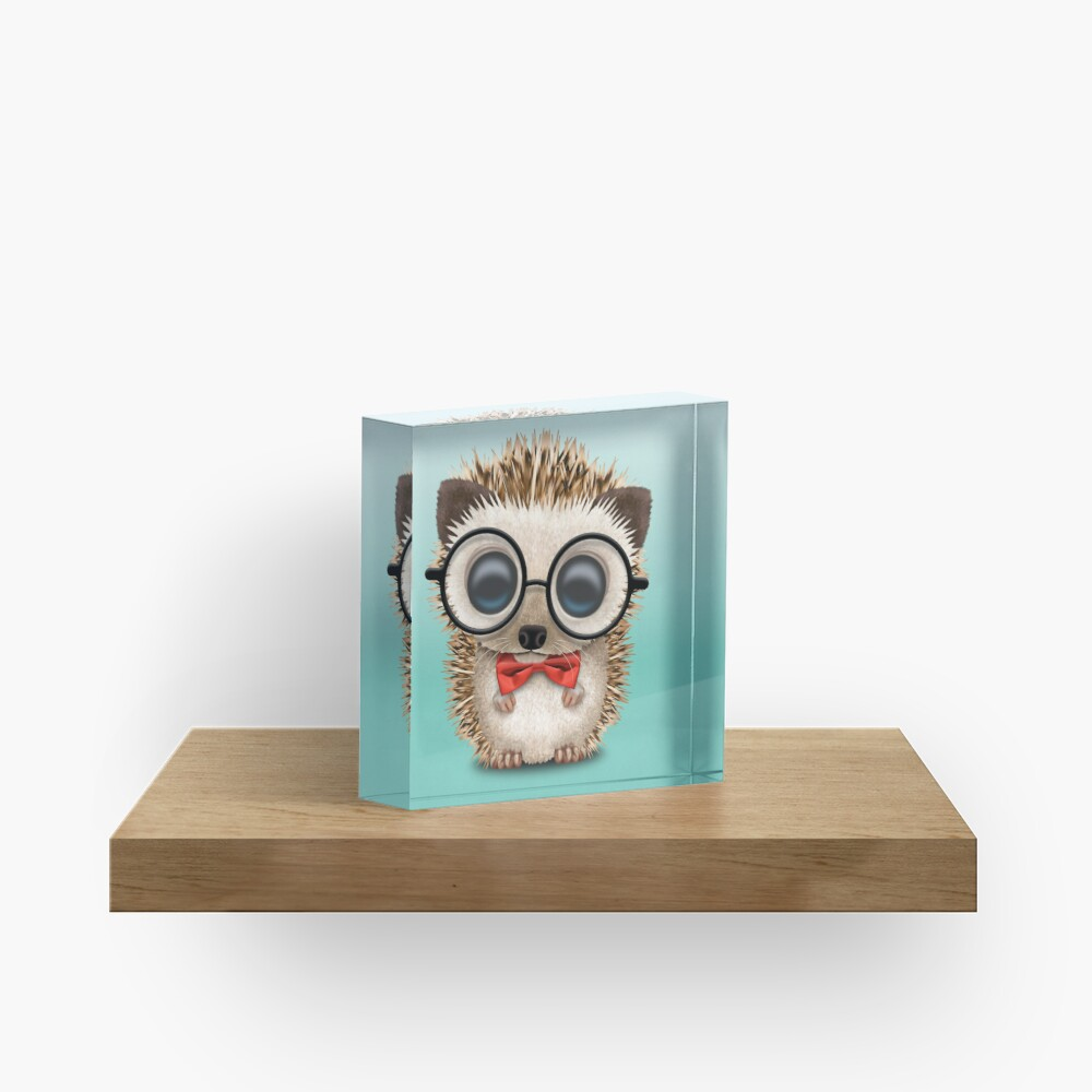 Cute Nerdy Hedgehog Wearing Glasses and Bow Tie Acrylic Block