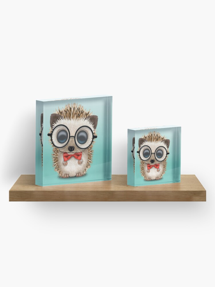 Alternate view of Cute Nerdy Hedgehog Wearing Glasses and Bow Tie Acrylic Block