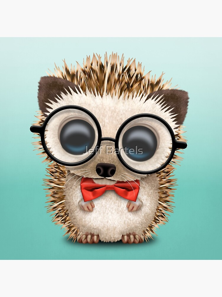 Cute Nerdy Hedgehog Wearing Glasses and Bow Tie by JeffBartels