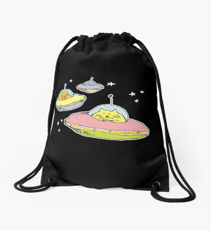 space cats Drawstring Bag