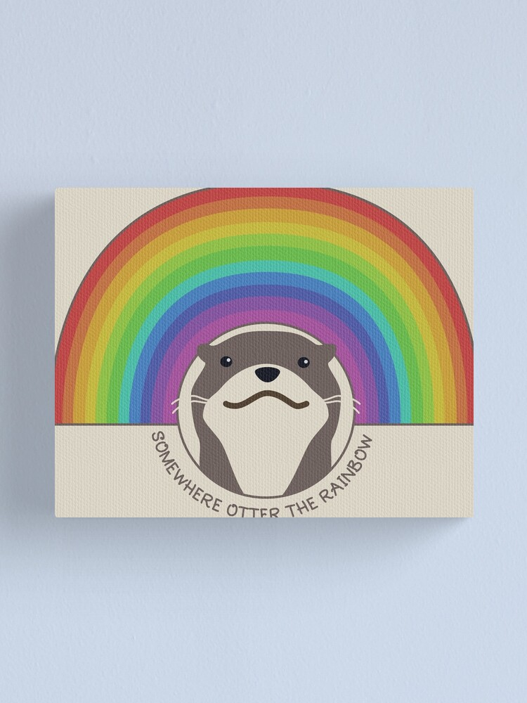 Alternate view of Somewhere Otter the Rainbow Canvas Print