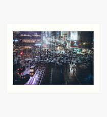 Shibuya crossing at Rainy Night Art Print