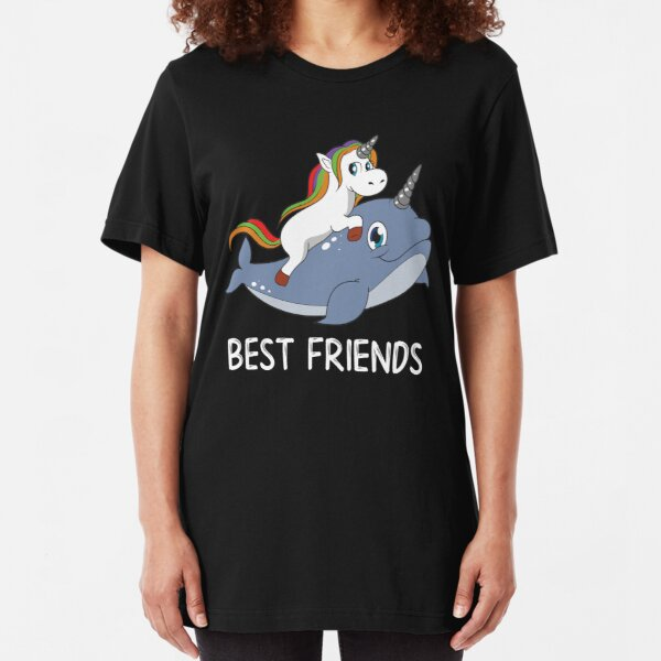 Unicorn And Narwhal Best Friends Slim Fit T-Shirt