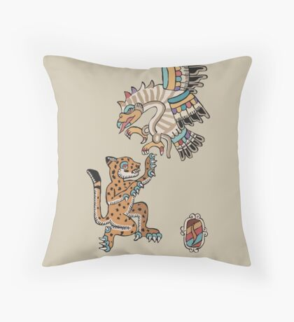 Ocelot and Eagle Throw Pillow