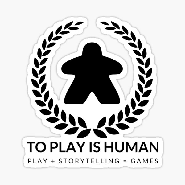 To Play Is Human (black & white) Sticker