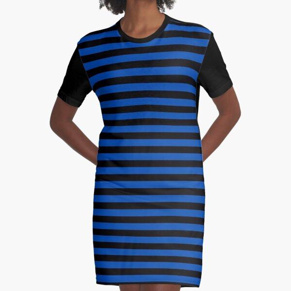 Cobalt Blue and Black Horizontal Stripes Graphic T-Shirt Dress