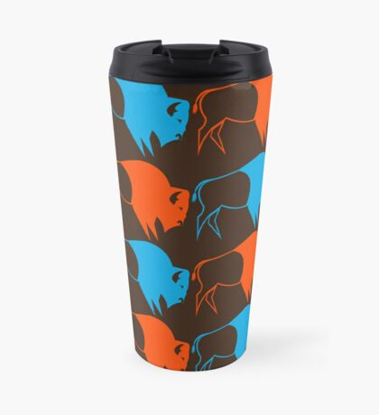 Orange Blue Buffalo Nation Travel Mug