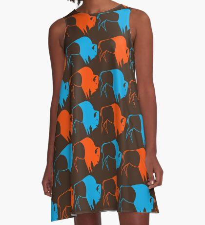 Orange Blue Buffalo Nation A-Line Dress