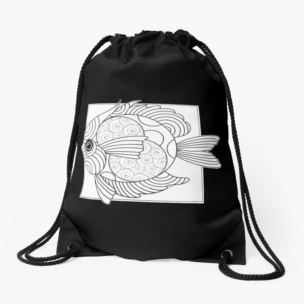 Just Add Colour - Fanciful Fish Drawstring Bag