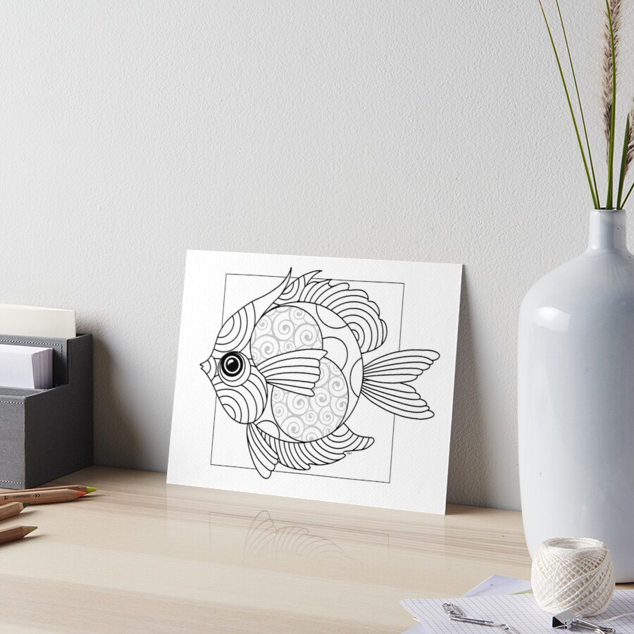 Just Add Colour - Fanciful Fish Art Board Print