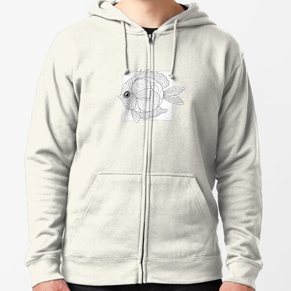 Just Add Colour - Fanciful Fish Zipped Hoodie