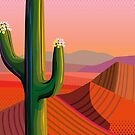 Closeup Saguaro in Blooming at Sunset by Charles Harker