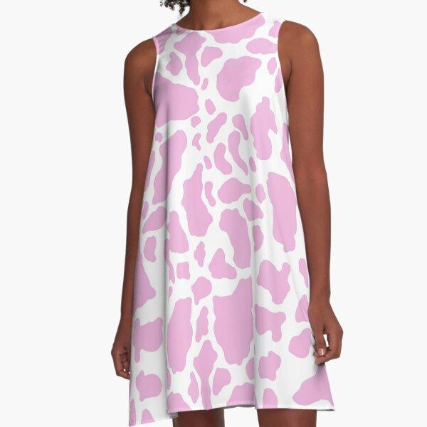 White Pink Cow Animal Print A-Line Dress