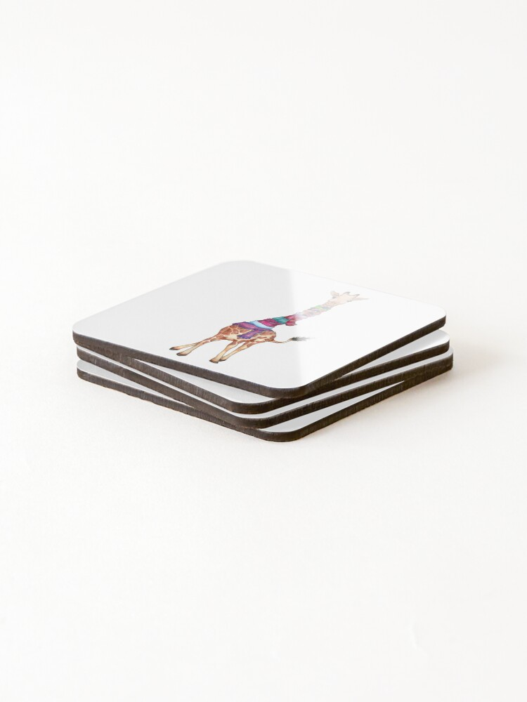 Alternate view of Cold Outside - Cute Giraffe Illustration Coasters (Set of 4)