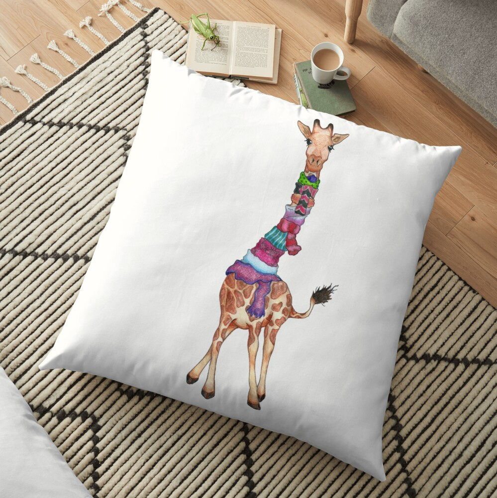 Cold Outside - Cute Giraffe Illustration Floor Pillow