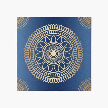 Gold and Blue Mandala Pattern Art Board Print