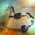 Season's Greeting Rocking Horse and Bauble by Joy Watson