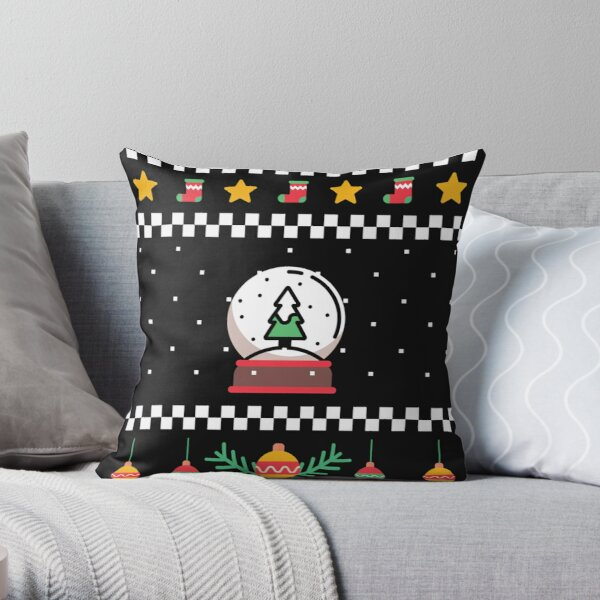 Ugly Christmas sweater theme on a pillow