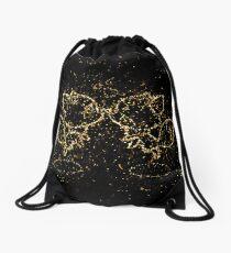 Anthropomorphized animals cartoon couple golden ornament Gold Drawstring Bag