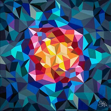 Multicolored geometric painting by artetbe