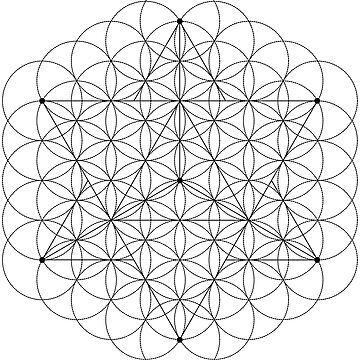 Merkaba and flower of life (black lines) by RedCloudDesign