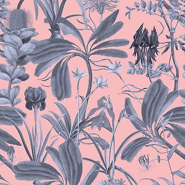 Botanical Stravaganza on pink by ikerpazstudio