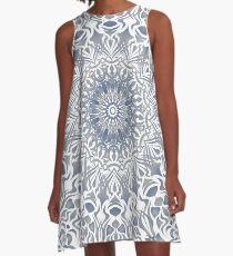 Tribal Mandala Blue A-Linien Kleid