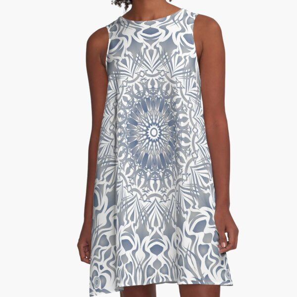 Tribal Mandala Blue A-Line Dress