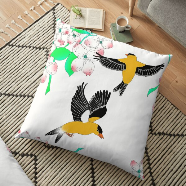 Goldfinch and Dogwood pattern Floor Pillow