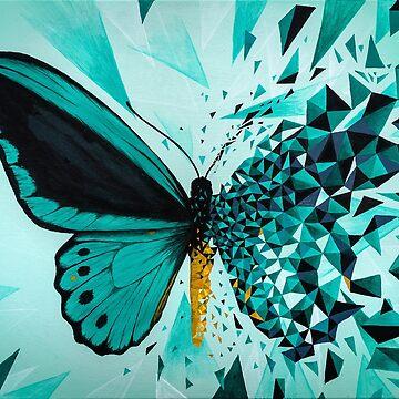 Green butterfly geometric explosion by artetbe