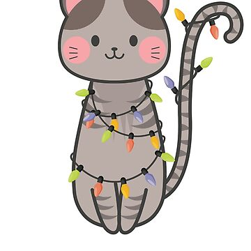 Cute Funny Cat Entangled with Christmas Lights by shadowisper