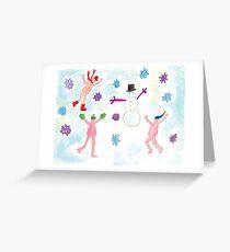 little nudists building a snowmen Greeting Card