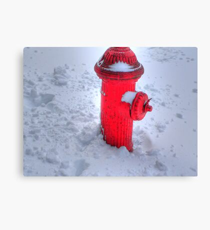 Fireplug in the snow Canvas Print