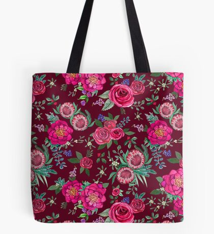 Christmas flowers,  Protea, rose, Poinsettia on burgundy  Tote Bag
