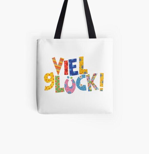 Buntes Viel Glück! Allover-Print Tote Bag