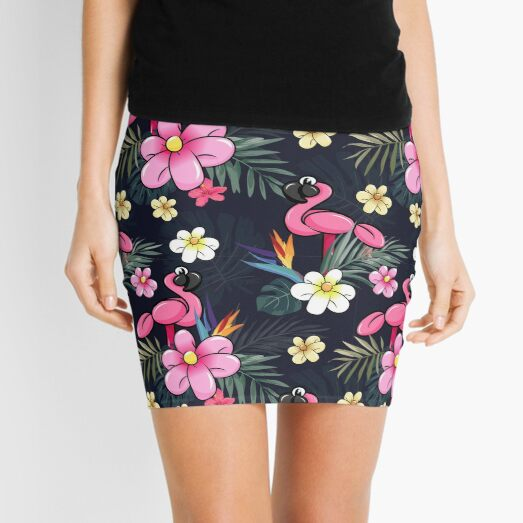 Tropical Balloon Animals and Flowers Mini Skirt