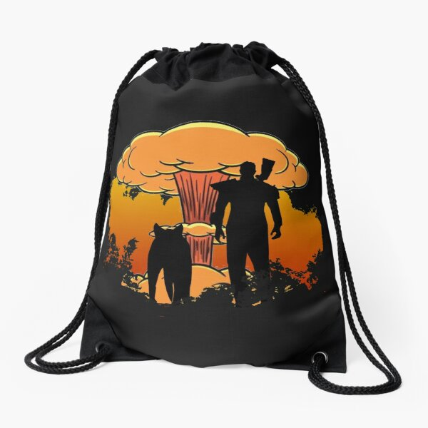 Fallout 4 - Lone Wanderer and Dogmeat Nuke (Clean) Drawstring Bag