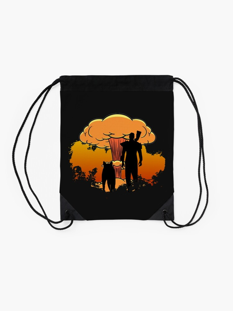 Alternate view of Fallout 4 - Lone Wanderer and Dogmeat Nuke (Clean) Drawstring Bag