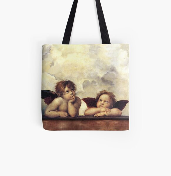 RENAISSANCE ANGELS Winged Cherubs All Over Print Tote Bag