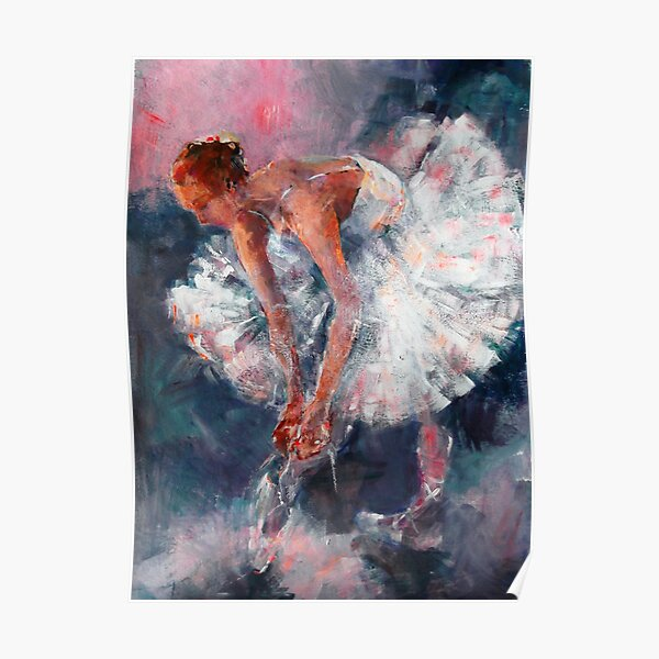 Ballet Dancer in White Dress Tying Shoe Ribbons Poster