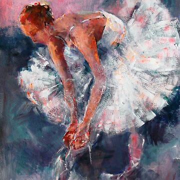 Ballet Dancer in White Dress Tying Shoe Ribbons by ballet-dance